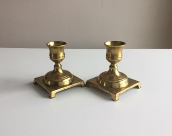 Vintage Brass Candlestick Holders - Set of Two