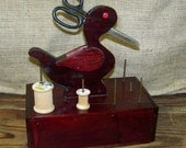 Duck Sewing Box Wooden Sewing Box Vintage Duck Sewing Drawer Sewing Organizer Seamstress Box