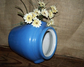Blue Crock Jug Vintage Blue Stoneware Jug Farm Kitchen Decor