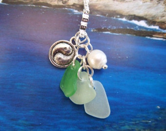 Island Goddess Sea Glass Sacred Geometry Necklace with Pearl