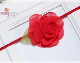 Red Chiffon Leaf Flower Skinny Elastic Newborn/Toddler Headband