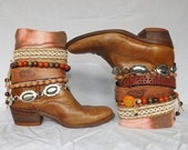 Boho Belted Boots Reworked Embellished Cowboy Gypsy Boots Refadhioned Vintage Leather Boots