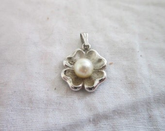 Vintage Real Pearl & Sterling Silver Charm or Pendant