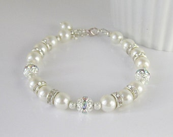 Ivory Pearl and Crystal Bracelet, Ivory Bridal Jewellery, Ivory Bridesmaid, Bridal Sets, Wedding Sets