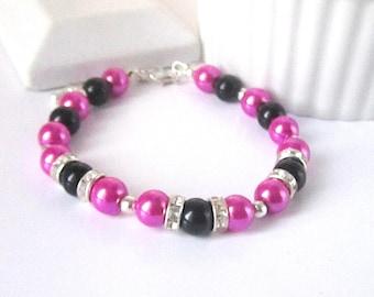 Pink Pearl Bracelet, Bridesmaid Bracelet, Wedding Jewellery, Pink Black Wedding, Rhinestone Jewellery, Bridesmaid Gift