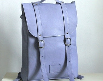 Lilac blue middle size leather backpack rucksack / To order / Leather Backpack / Leather rucksack / Womens backpack / Christmas Gift