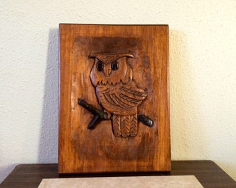 Vintage Wall Decor-Hand Carved Wood Owl Wall Hanging