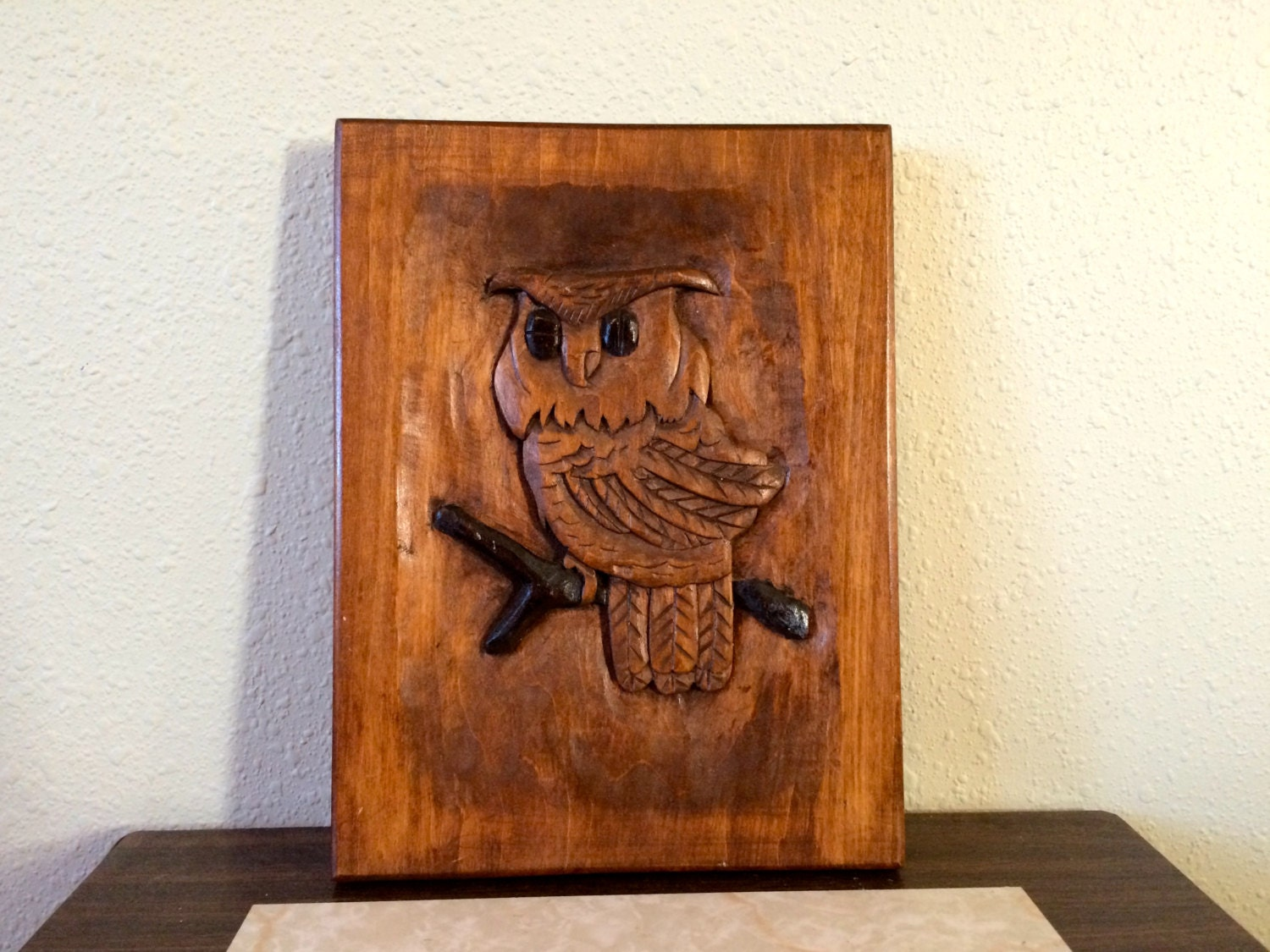 Wooden Owl Wall Decor : Vintage wall decor hand carved wood owl hanging