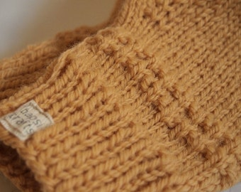 one of a kind knit fingerless mittens -- the condyle pure wool wristwarmers in yellow