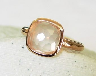 SALE - Rose Quartz Pristinely Cushion-cut Rose Gold Vermeil Ring - Stacking Rings - Stackable Rings - Bezel Rings- Halo Rings