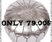 Moroccan Leather Pouf 100% Handmade silver luxury ottoman footstool chair