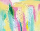 Lotus ~ Original Painting, Shamanic, Yoga, Symbols, Abstract Art by Gennifer Carragher
