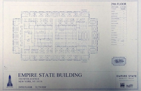 empire state building 29th floor plan blueprint by