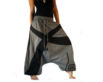 Harem Pants  Grey- Aladdin Trousers - Afghani Pants - Alibaba Pants - Men - Women - Cotton