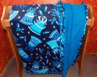 Double Layer Blue Christmas Bells Fleece Blanket with Braided Edges