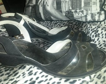 Sale....1950's Wedge Sandals, Suede and Lucite - VLV, Rockabilly