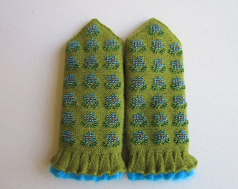 Hand Knitted Mittens Wool Mittens  Green Mittens Double Mittens for Women