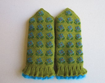 Hand Knitted Mittens Wool Mittens  Green Mittens Double Mittens for Women Mittens With Beads