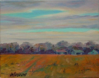 """Small original painting, """"Going Home"""", landscape, farm, country, rural, sunset"""