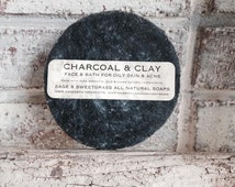 CHARCOAL FACE SOAP  {{All Ages, Oily Skin, Congested Skin, Large Pores, Breakouts, Shaving Bumps, Red Irritated Face & Body}}