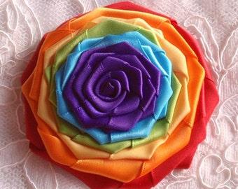 Handmade Ribbon Rose (3-1/4 inches) In Rainbow MY-211-04 Ready To Ship