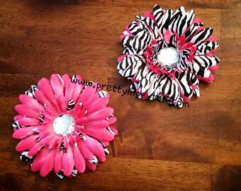4 Inch Hot Pink and Zebra Gerber Daisy Flower Hair Clip