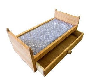 18 INCH Doll Bed With Storage Drawer Includes Blue With Flower Mattress