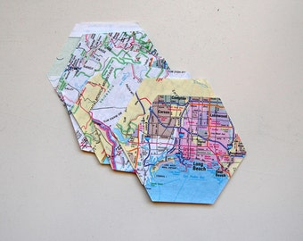 Vintage Hexagon Die Cuts from Map / Atlas Paper, Set of 10, Travel, Scrapbook, Paper Craft, Junk Journal