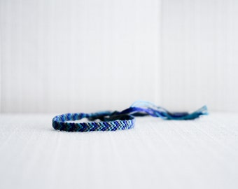 Friendship Bracelet Chevron Bracelet Grey Teal and Navy Stocking Stuffer