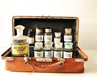 Lot of 9 Vintage Apothecary Bottles - Pharmacy Bottles