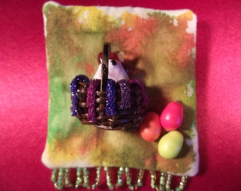 My Easter Chicken in a Basket for You Pin Brooch