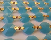1 Yard Opaline Aqua Chandelier Crystal Chains Prism Opaque Turquoise Beach Wedding Decor Garland Shabby Chic
