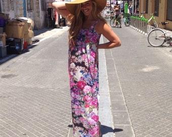 ON SALE! Jersey maxi dress / Floral long dress / Floral summer dress /spaghetti strep dress