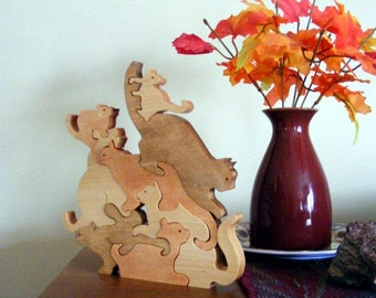Wooden Interlocking Stack of Cats Puzzle