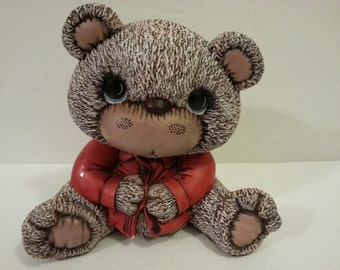 Vintage Pottery Teddy Bear with Red Shirt