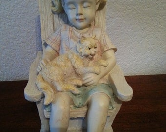 Sleeping Girl with Cat in Rocking Chair