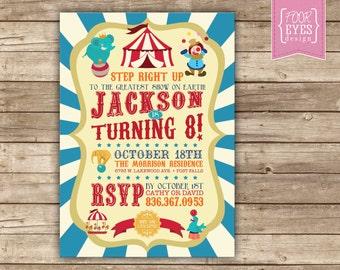 Circus Theme Birthday Invitation - DIY Printable File