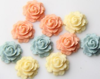 12 pcs  of  3 colors ofresin flat rose cabochon-16mm-0470-nature mix-26-38-8