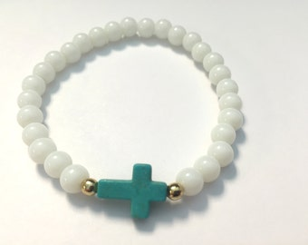 Turquoise Howlite Sideways Cross Beaded Bracelet