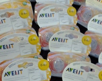 Bulk Lot Avent Clear Pacifiers 24 count 0 to 6 month size for mustache maker