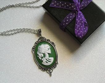White Lady Lolita Skull Antique Silver Victorian Necklace