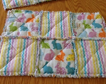 Spring / Bunny Rag Quilt-style Placemats