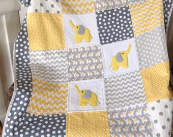 ELEPHANTS YELLOW/GRAY organic flannel with soft Minky back