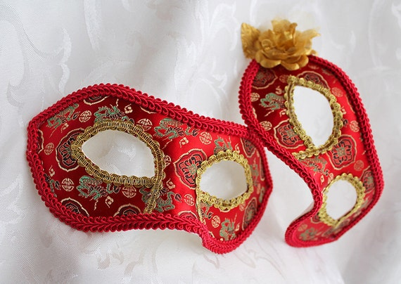 Matching Couples Red Satin Brocade Masquerade Ball Masks