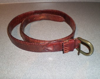 Vintage Christian Dior Brown Full Grain Leather Belt With Tassle Size Thirty Two