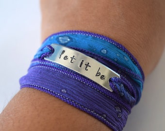 Let it Be Hand Stamped Ribbon Wrap Bracelet