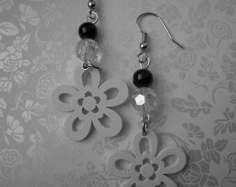 white wood earrings