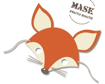 Mask Fox Foxy Woodland animal printable Mask -  Photo booth  for birthdays - Instant Download