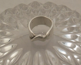 Silver lost wax cast one of a kind ring  size 9