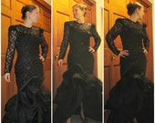 Red Carpet Glamor - 1980s Black Lace and Sequin Dress by Saks Fifth Ave